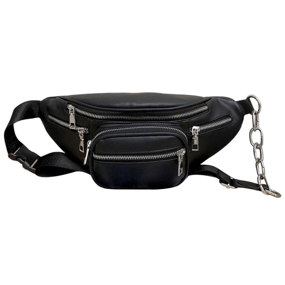 e5d86af320 Handbags - Faux Leather Fanny Pack with Chain Detail